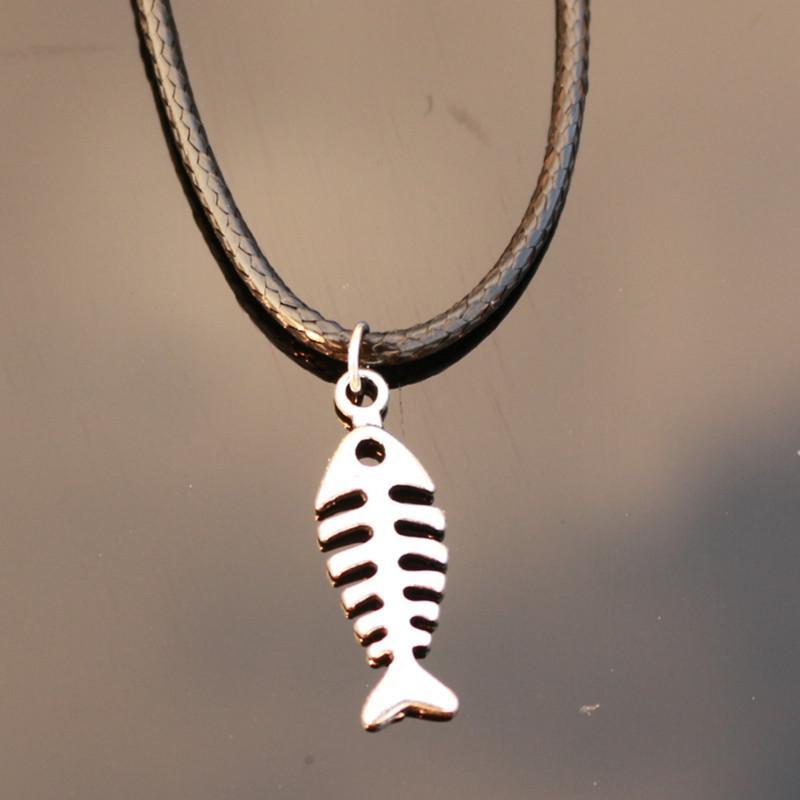Wholesale wholesale n784 fish bone pendant colleares rope for Fish bone necklace