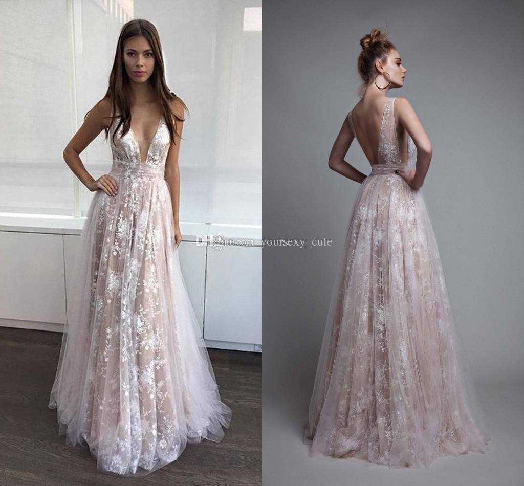 Newest Lace Evening Dresses V Neck Tulle Ivory Nude Sexy Backless ...