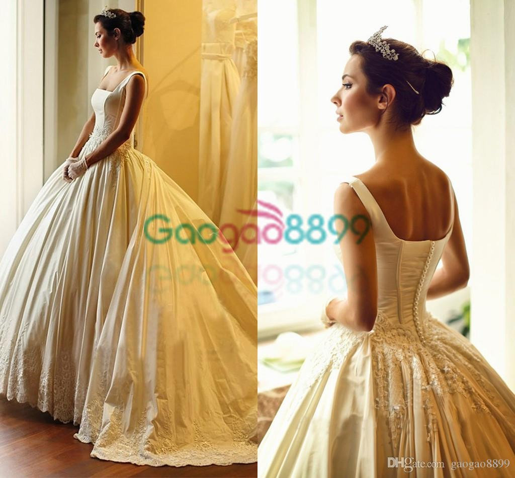 Vintage Custom Made Gold Color French Lace Sweetheart Ball Gown Wedding Dress