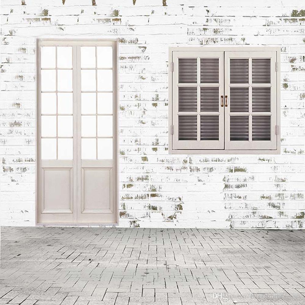 White Painted Brick Wall Floor Photo Backdrops Wooden Door