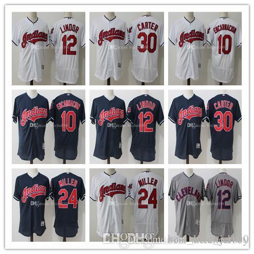 f443be9f373 ... Jersey Mens Cleveland Indians Francisco Lindor Joe Carter Majestic  White Blue Gray Flex Base Authentic Collection Player Cleveland Indians 30  ...