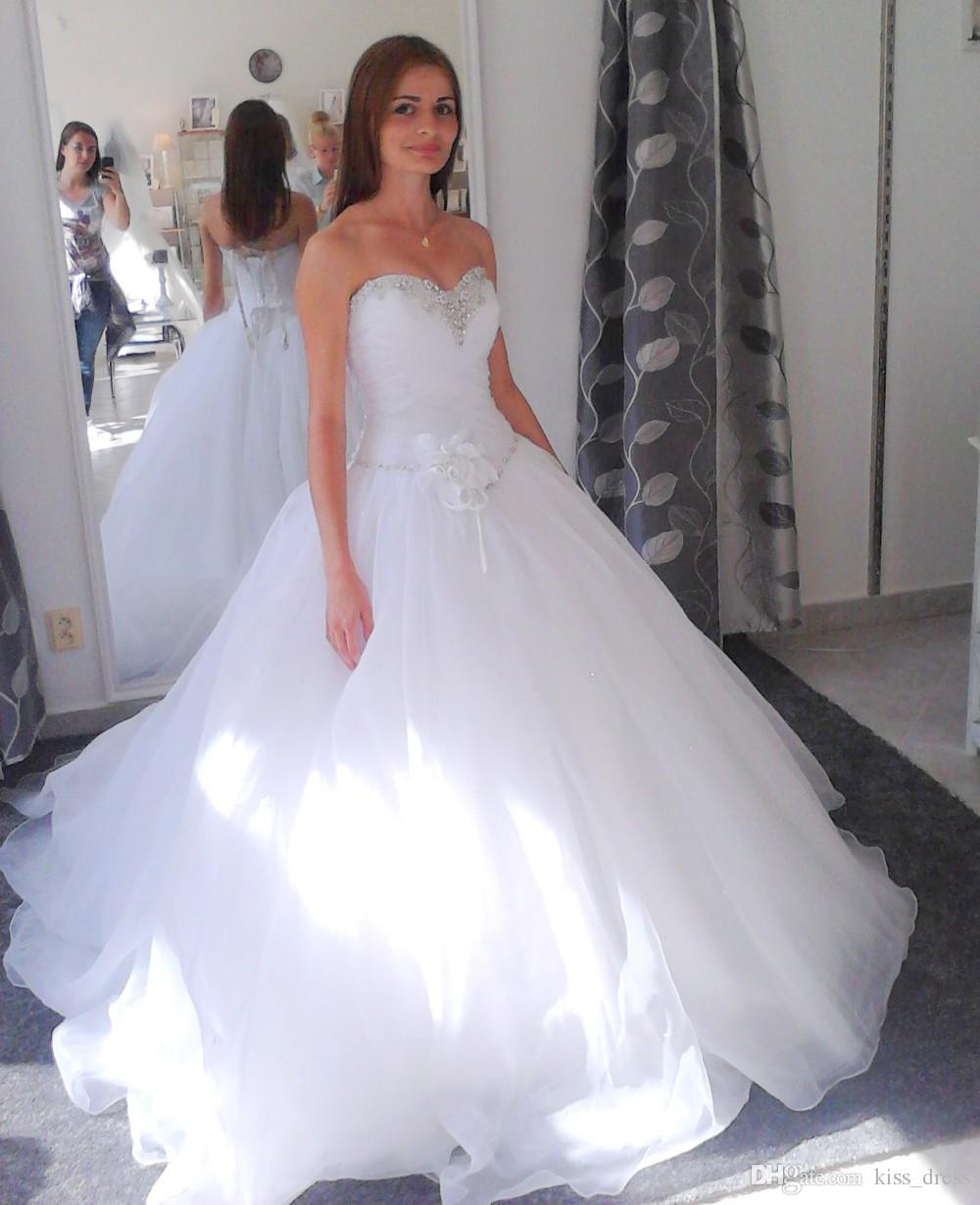 Simple Style Princess Wedding Dresses 2017 New Custom Sweetheart Beaded Crystal Flower Organza