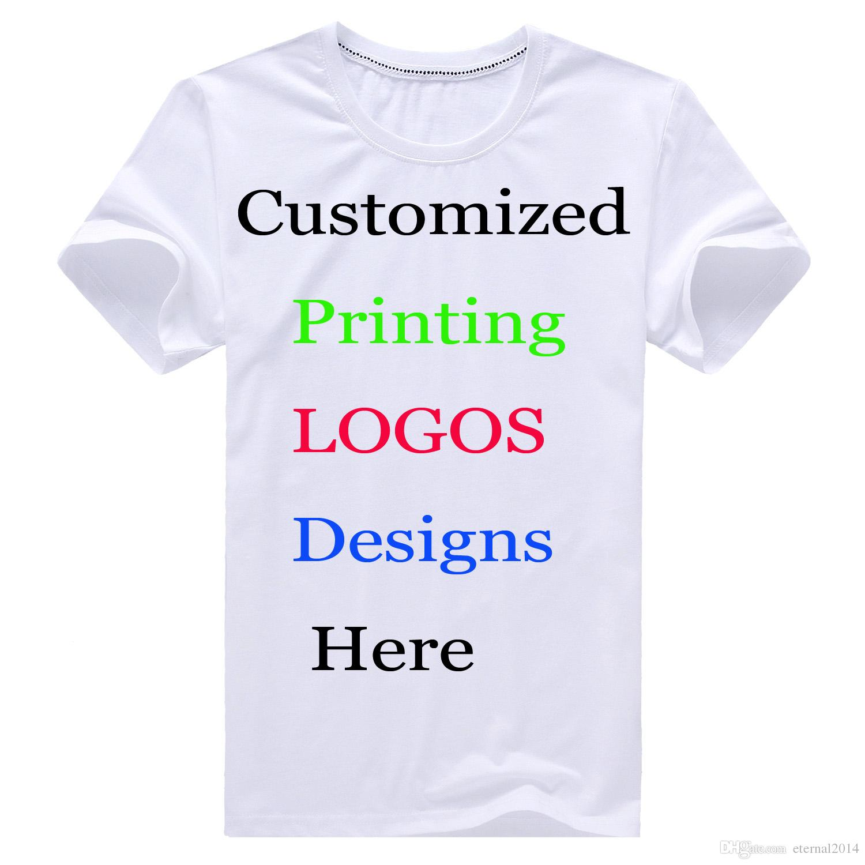 Custom printing diy logo t shirt text name photos design for Print name on shirt