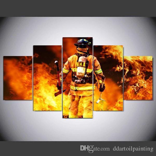 2017 Print Wall Art Canvas Firefighter Painting Modern