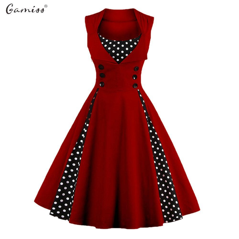 Wholesale- Gamiss Midi Polka Dot Vintage Dress Spring Women ...