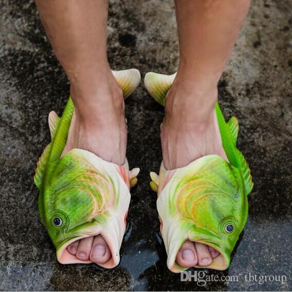 2017 creative fish slippers handmade women 39 s men 39 s bass for Bass fish slippers