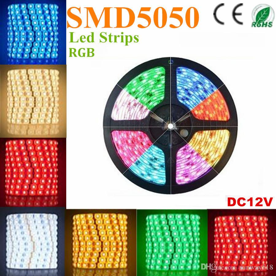 500m RVB Led Strips SMD 5050 5M 300 Leds étanche IP65 Led flexibles Strips DC DC