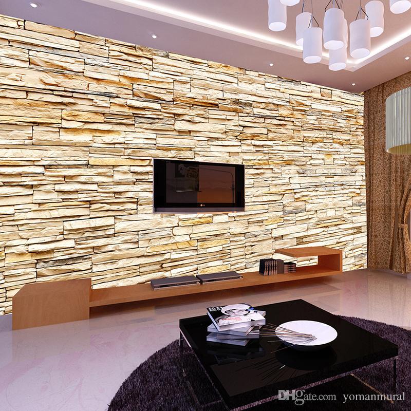 Non woven fashion 3d stone bricks wallpaper mural for for Wallpaper home hardware