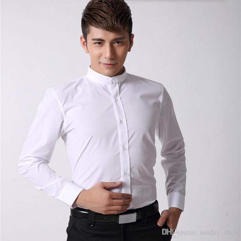 2017 chinese style men shirt mandarin collar business for Cost to tailor a shirt