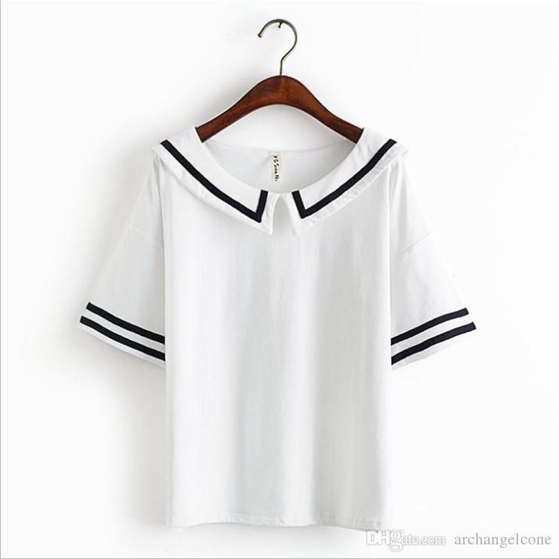 Female summer t shirt navy sailor style cotton t shirt for Cute japanese t shirts