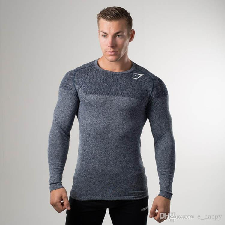 Gymshark T-Shirt Tee Autumn Winter Hommes Gym Crossfit Training Tees O-Neck Long