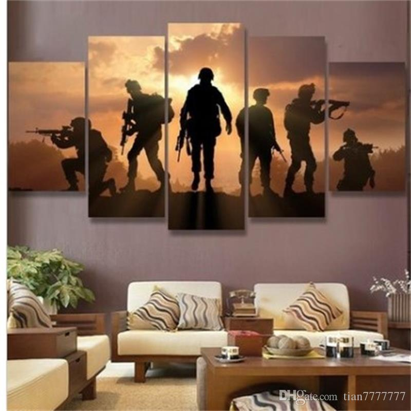 New 5 Pieces Hd Print Abstract Soldiers Sunset Painting On Canvas Wall Art Picture For Home Decor Without Frame