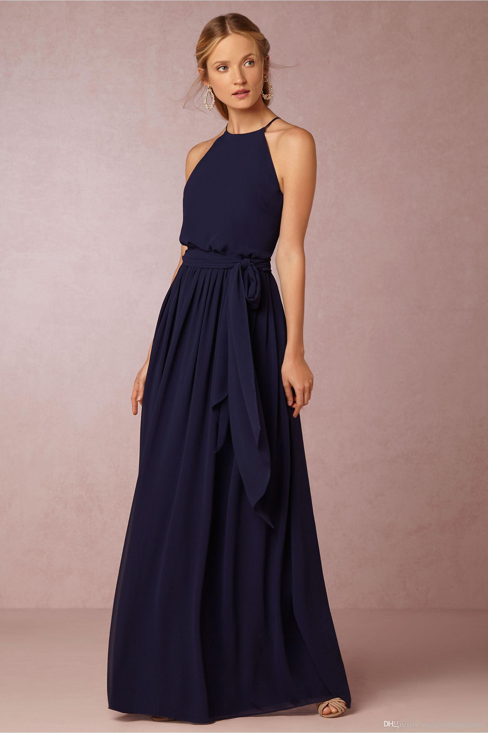 Long navy blue bridesmaid dresses bhldn 2016 chiffon summer beach long navy blue bridesmaid dresses bhldn 2016 chiffon summer beach wedding party dresses long floor length cheap bridesmaid formal dresses 2017 bridesmaid ombrellifo Gallery