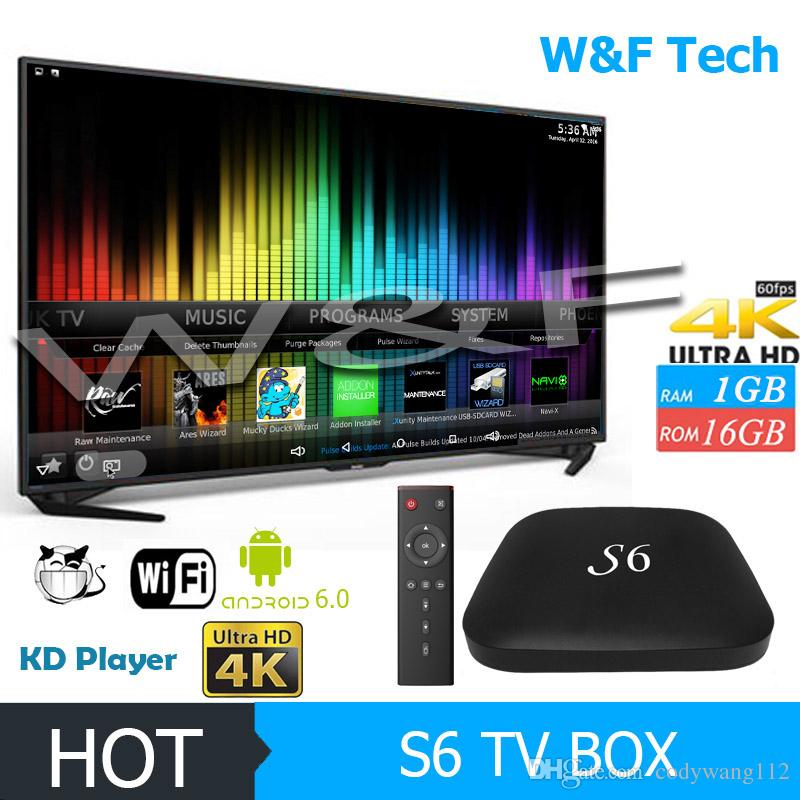 2017 Hot Selling S6 Android 6.0 TV Box Quad Core RK3229 1 Go 16 Go KD 17,3 Krypt