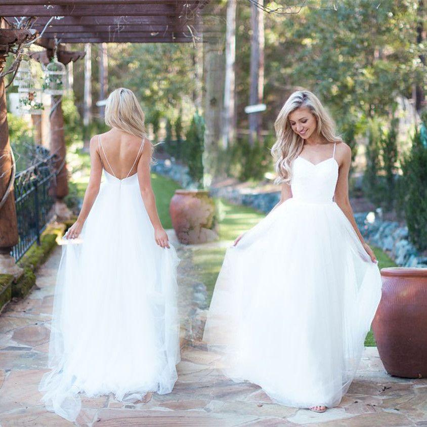 White Elegant Beach Wedding Dresses Designer 2017 Open