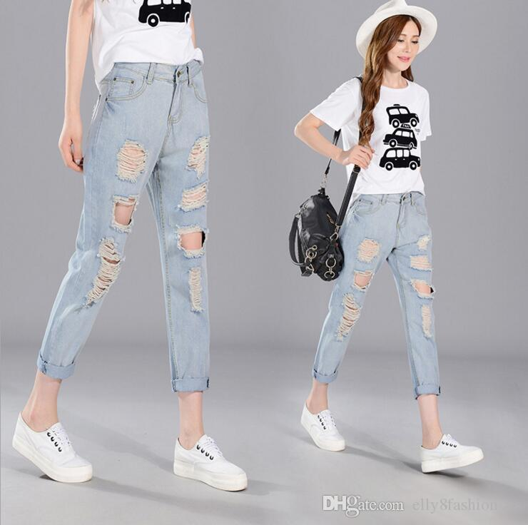 2017 Korean Style Pants Thin Size Loose Jeans Hole Denim
