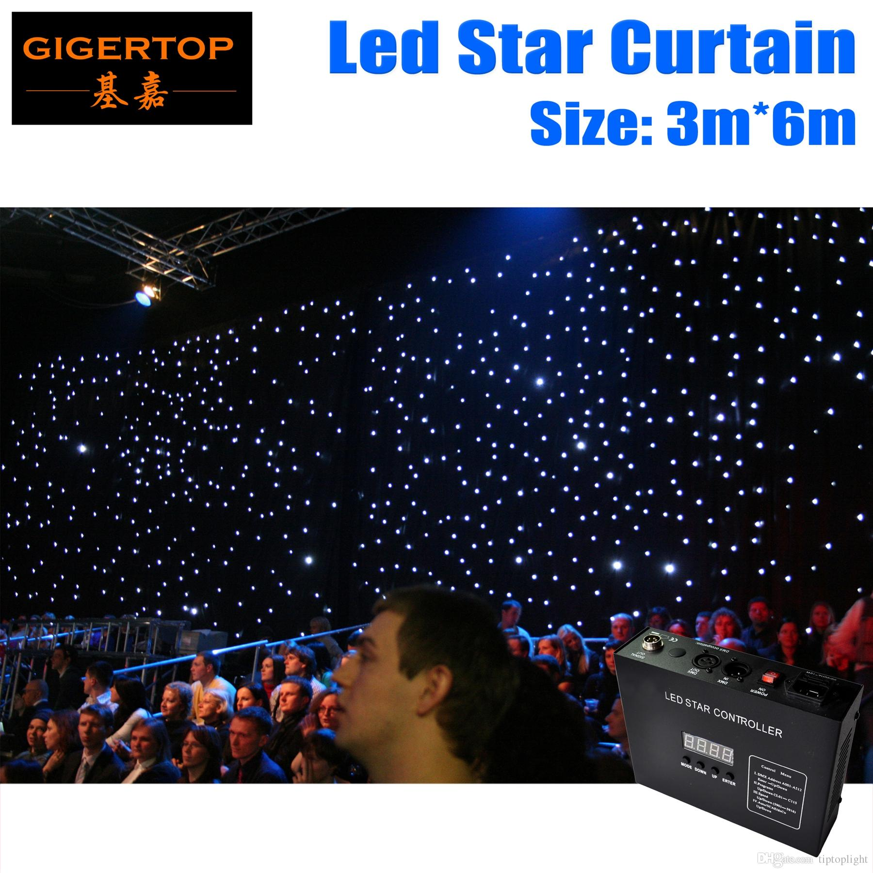 Color booth online - Freeshipping 3m 6m Led Star Curtain Rgbw 240pcs Led Color Curtain Dj Skirt Dj Booth Dmx Controller Control Auto Sound Mode Flam Retardant