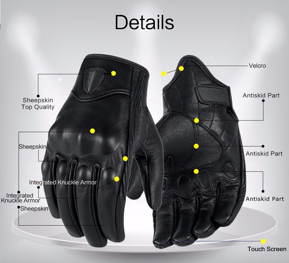 Motorcycle gloves all season - Motorcycle Gloves Real Genuine Leather All Season Glove Touch Screen Perforate Men Racing Motorbike Motocicleta Guantes