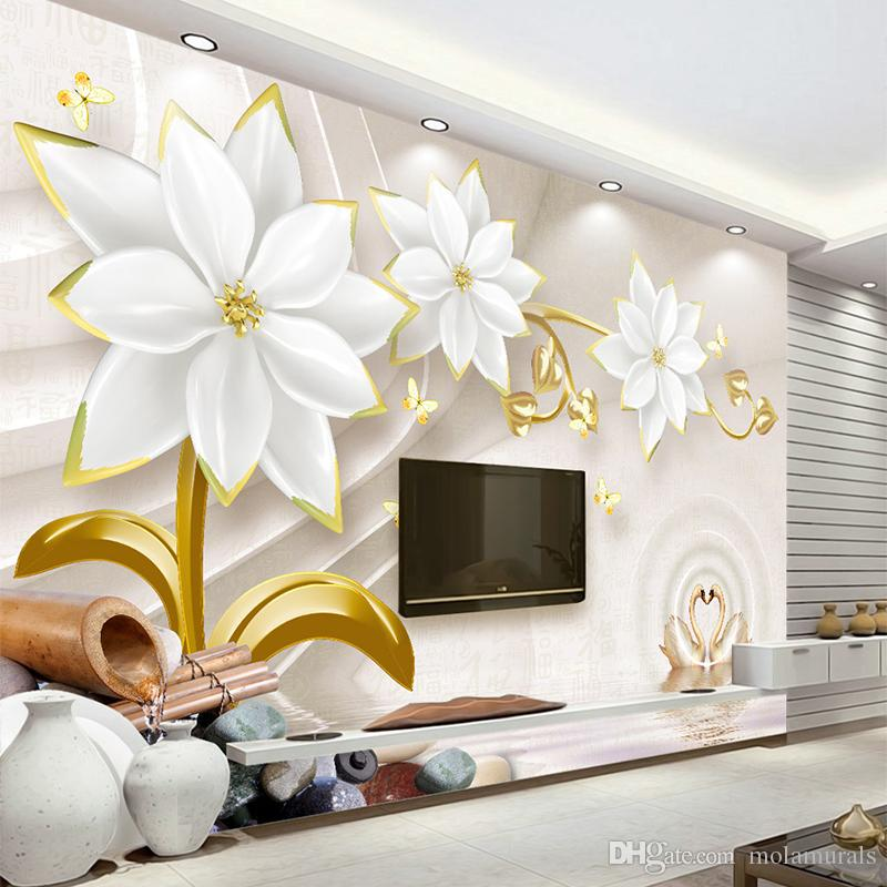 Custom Any Size Photo Background Wall Murals Soft Large Flower Wall  Covering BedRoom Wall Murals Modern WallPaper Home Decor Non Woven Fashion  Wallpaper TV ... Part 45