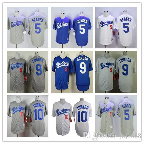 grey jerseys mens los angeles dodgers jerseys 5 corey seager 9 dee gordon