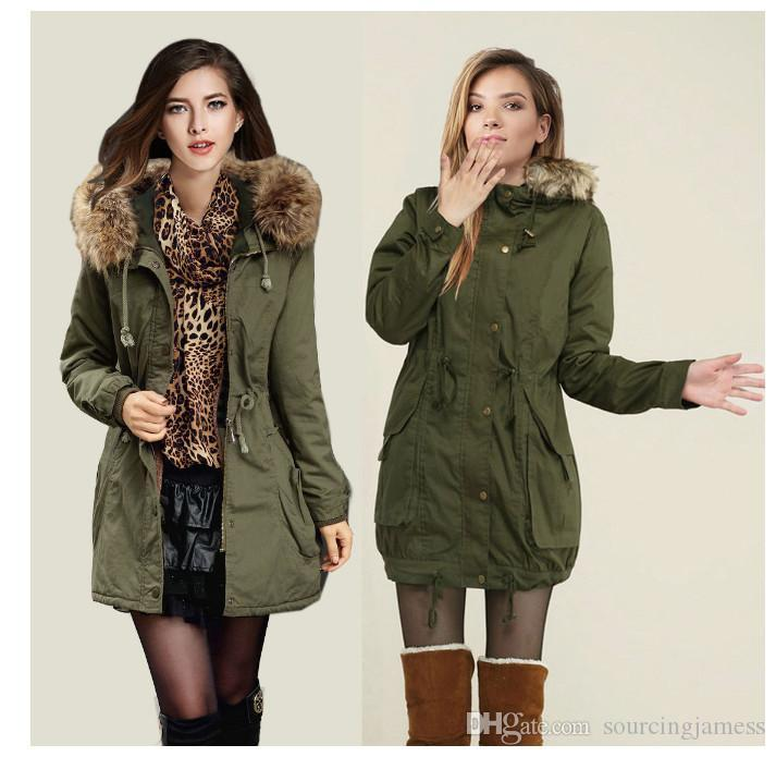 2017 Womens Faux Fur Coats Lined Parka Outdoor Winter Hooded Long
