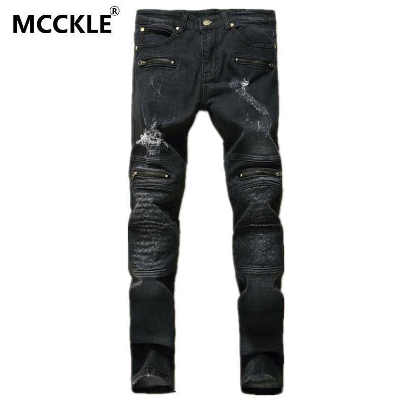 2017 Wholesale Designer Mens Black Ripped Jeans Pants Multi Zipper ...