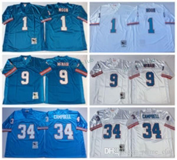 Throwback Football Jersey Joueur à la retraite n ° 1 Warren Moon Houston # 34 Ea