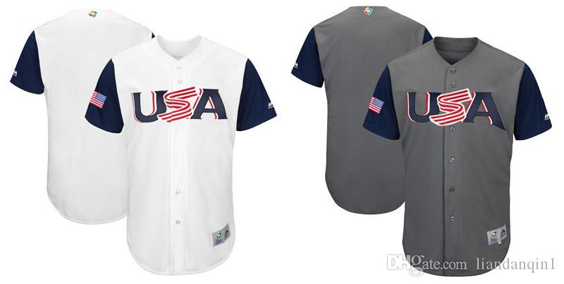 Custom Men's USA Baseball Majestic White Grey 2017 World Baseball Classic Replic