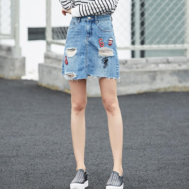 2017 denim skirt pockets pattern a line skirts