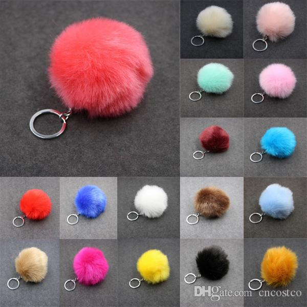 Womens 24 Color Imitate Rabbit Fur Ball Keychain Pom Pom Car Keychain Porte-clés