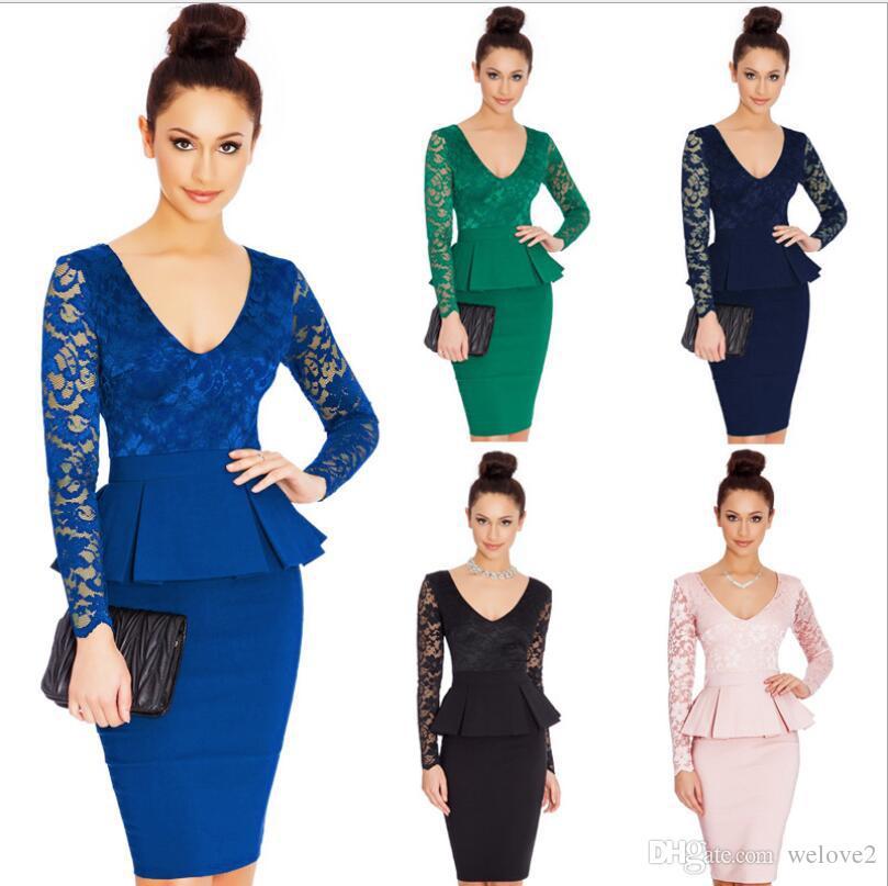 nem065 long sleeve peplum dress deep v neck sexy lace dress plus