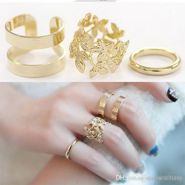 Korean Women Knuckle Ring Silver Gold Leaf Band Rings Elegant Rings Jewelry For Women Top