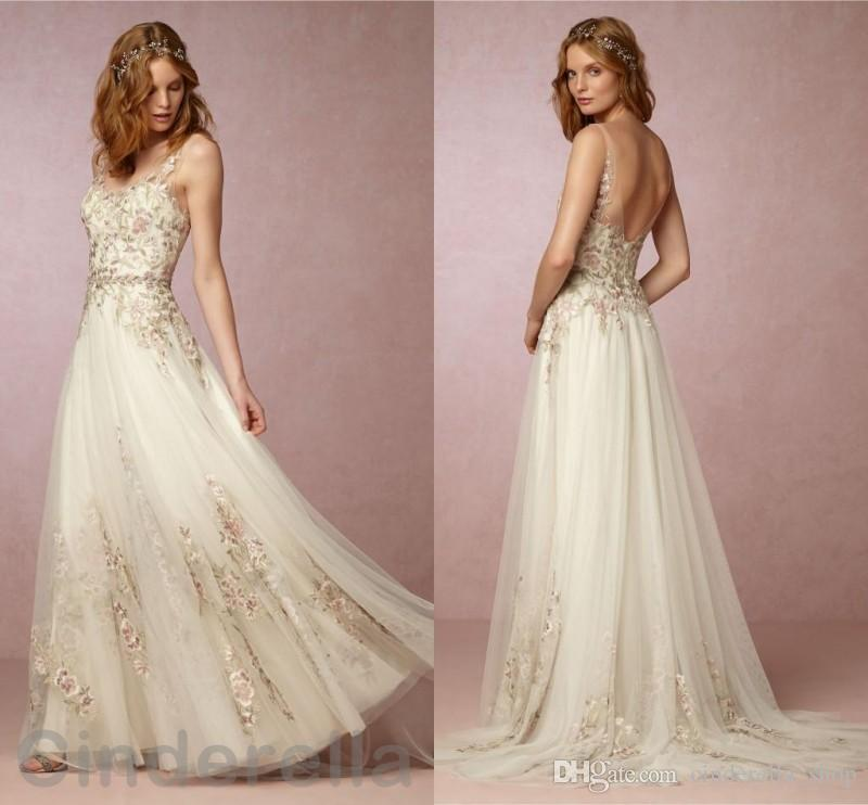 Embroidery lace wedding dresses d flowers appliques