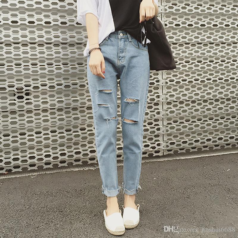 2017 Ripped Jeans For Girls 2017 Casual Fashion Light Blue High ...