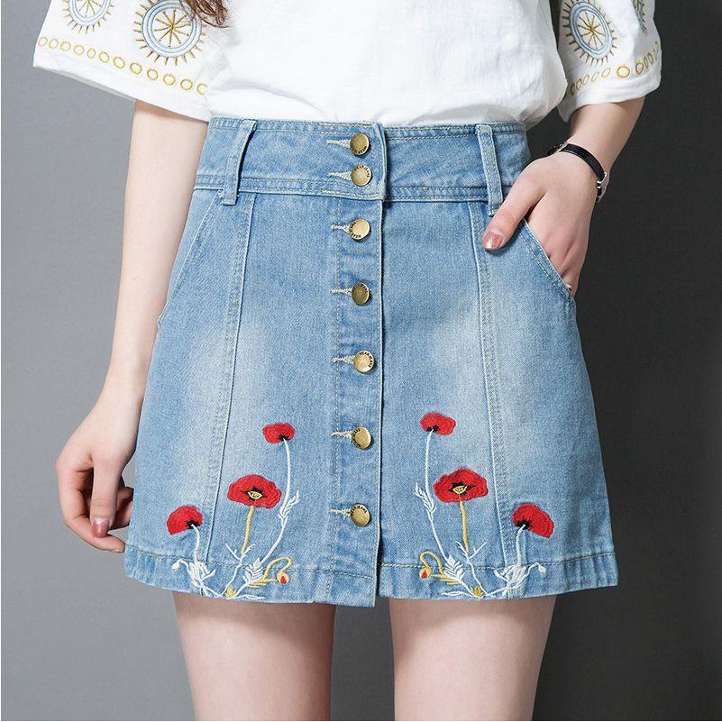 2017 denim skirts high quality designer denim embroidered