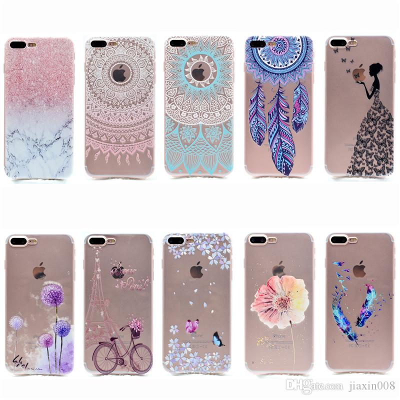 Transparent TPU Cover iPhone 7 Plus Case Fashion Tower bike Butterfly Girl Feather Design Mobile Phone Cases