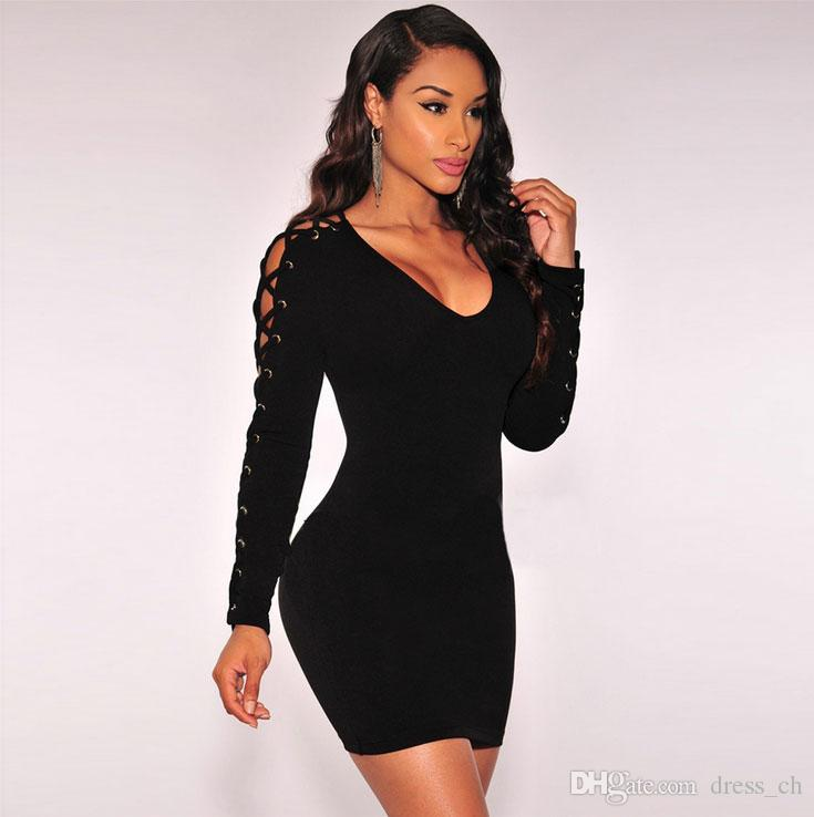 Bodycon Bandage Long Sleeved Pullover Sexy LACE UP Black Short ...