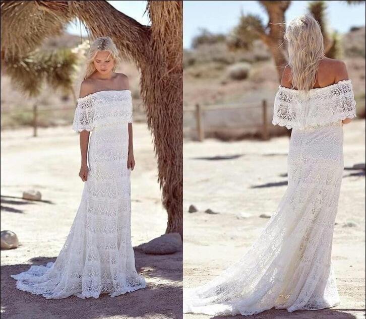 Discount Simple Country Boho Wedding Dresses Off Shoulder