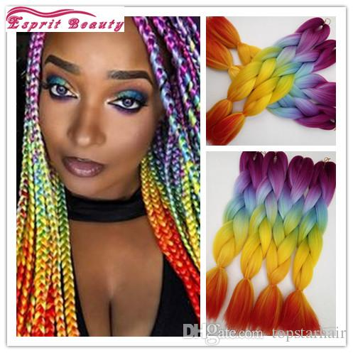 Hotsale 5packsfashion Rainbow Colorful Ombre Synthetic
