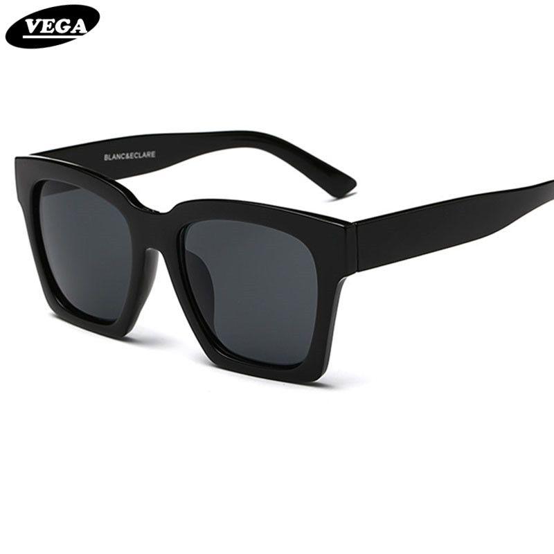 black shades glasses  Wholesale Vega 2017 Trendy Big Black Sunglasses Unisex Square ...