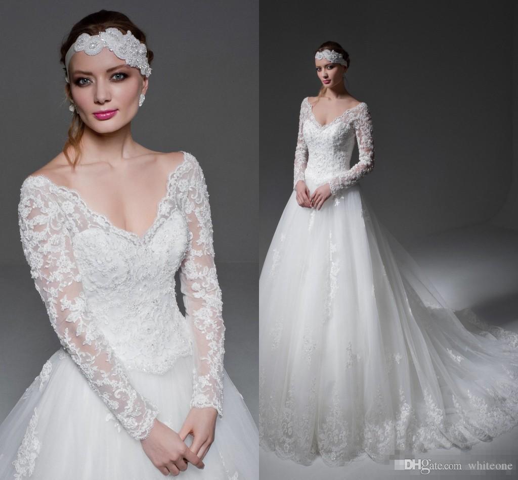 2017 Jillian Full Lace Arabic Wedding Dresses V Neck Long