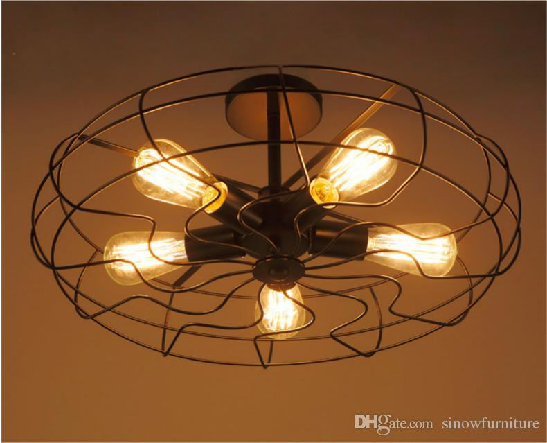 loft vintage ceiling light fan style e27 edison bulb ceiling light 5 light industrial lighting. Black Bedroom Furniture Sets. Home Design Ideas
