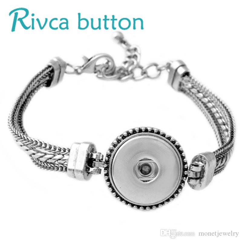 P00524 Hot Sale NOOSA DIY 18mm Metal Snap Button Fishion Charm Bracelets Pour Fe