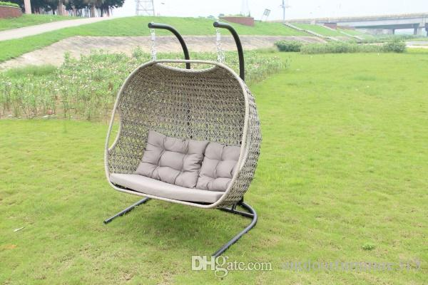2017 Double Seat Rattan Rocking Hangingchair Wicker Swing Chair Garden And Ra