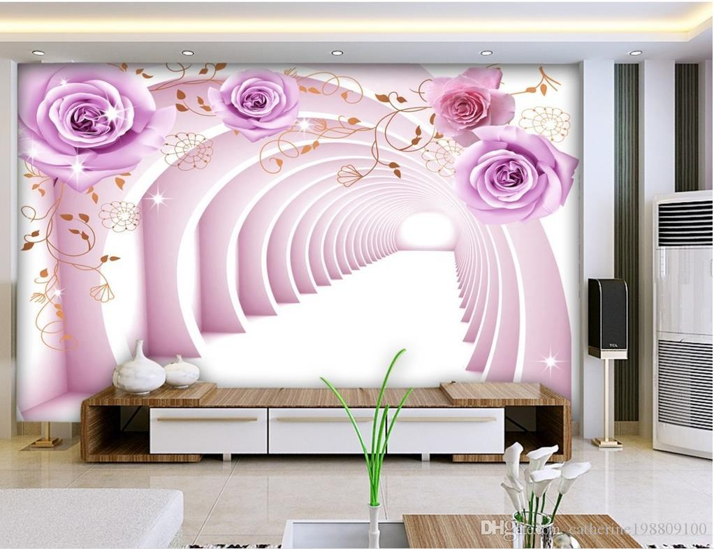 Custom any size 3d space purple rose mural background wall for Custom size wall mural