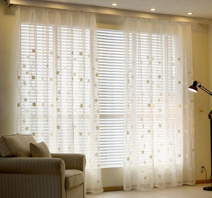 Sheer Curtains YouYee Semi Sheer Elegant Embroidered Solid White Rod Pocket  Window Curtains/Drape/Panels/Treatment Curtains Half Shading Light Curtain  Sheer ...
