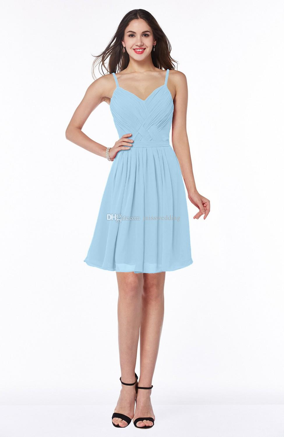 Simple design pretty ladies dress cheap spaghetti straps light simple design pretty ladies dress cheap spaghetti straps light blue chiffon dress for bridesmaid short length dress short bridesmaid dresses maid of honor ombrellifo Image collections