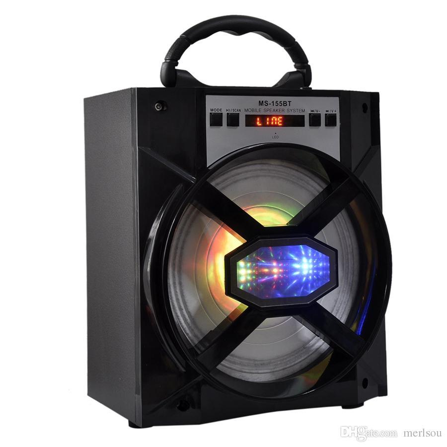 Ms 155bt Big Sound Bluetooth Speaker Led Light Wooden