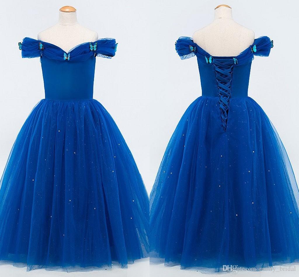 Royal blue tea length wedding dresses 2017 ball gown hand for 2nd hand designer wedding dresses
