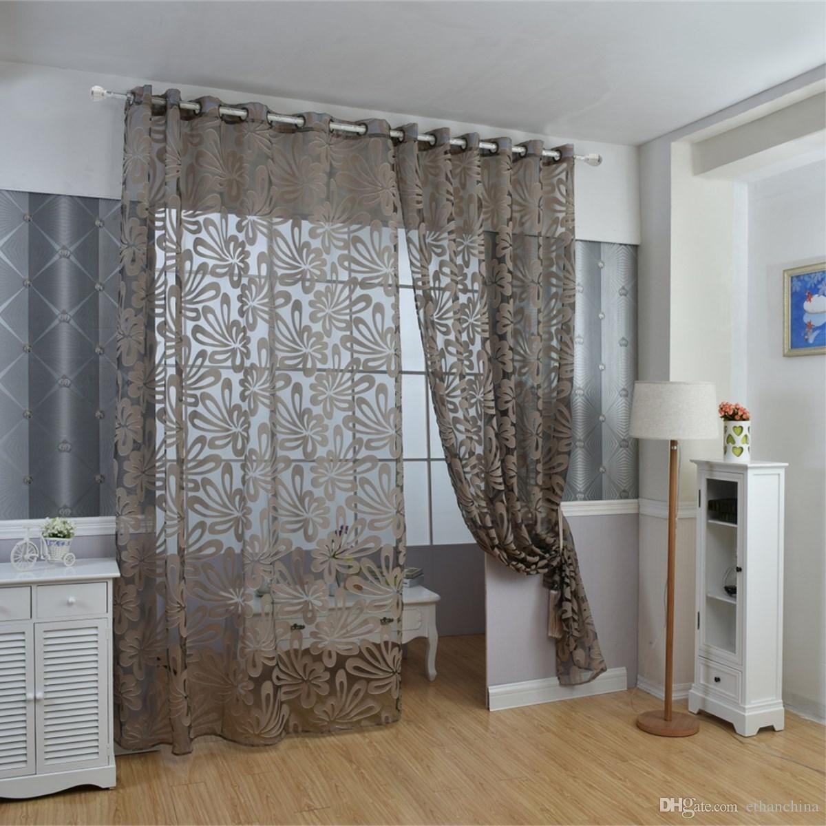 2017 ivolador solid 3d floral sheer window curtain balcony for Balcony curtains
